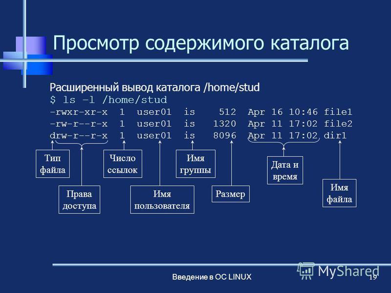 Введение в ОС LINUX 19 Просмотр содержимого каталога Расширенный вывод каталога /home/stud $ ls –l /home/stud -rwxr-xr-x 1 user01 is 512 Apr 16 10:46 file1 -rw-r--r-x 1 user01 is 1320 Apr 11 17:02 file2 drw-r--r-x 1 user01 is 8096 Apr 11 17:02 dir1 Т