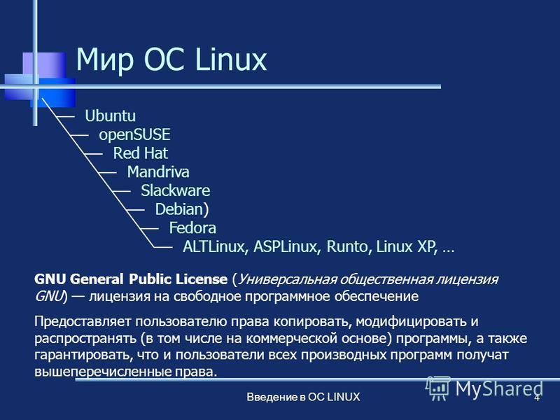 Введение в ОС LINUX 4 Мир ОС Linux Ubuntu openSUSE Red Hat Mandriva Slackware Debian) Fedora ALTLinux, ASPLinux, Runto, Linux XP, … GNU General Public License (Универсальная общественная лицензия GNU) лицензия на свободное программное обеспечение Пре