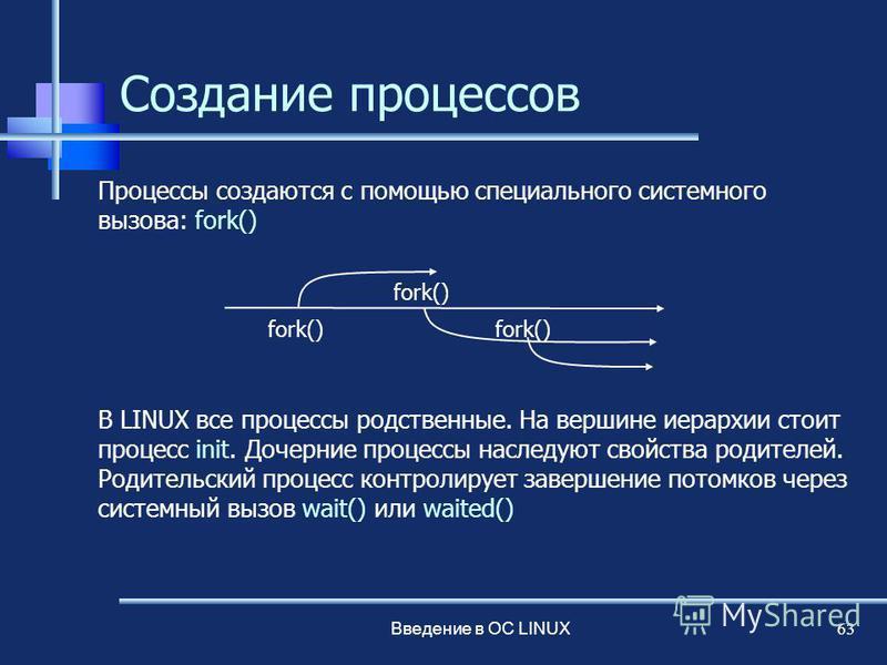 Введение в ОС LINUX 63 Создание процессов Процессы создаются с помощью специального системного вызова: fork() В LINUX все процессы родственные. На вершине иерархии стоит процесс init. Дочерние процессы наследуют свойства родителей. Родительский проце