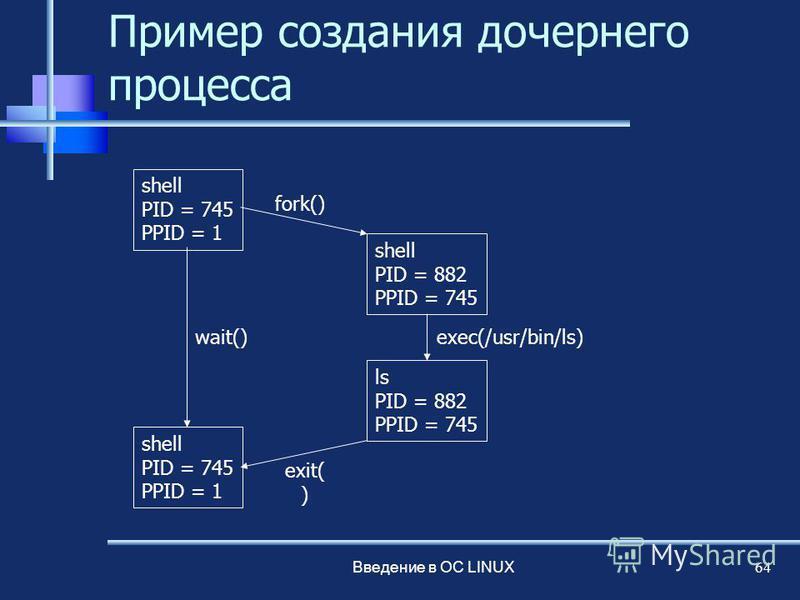 Введение в ОС LINUX 64 Пример создания дочернего процесса shell PID = 745 PPID = 1 shell PID = 882 PPID = 745 ls PID = 882 PPID = 745 shell PID = 745 PPID = 1 fork() wait() exit( ) exec(/usr/bin/ls)
