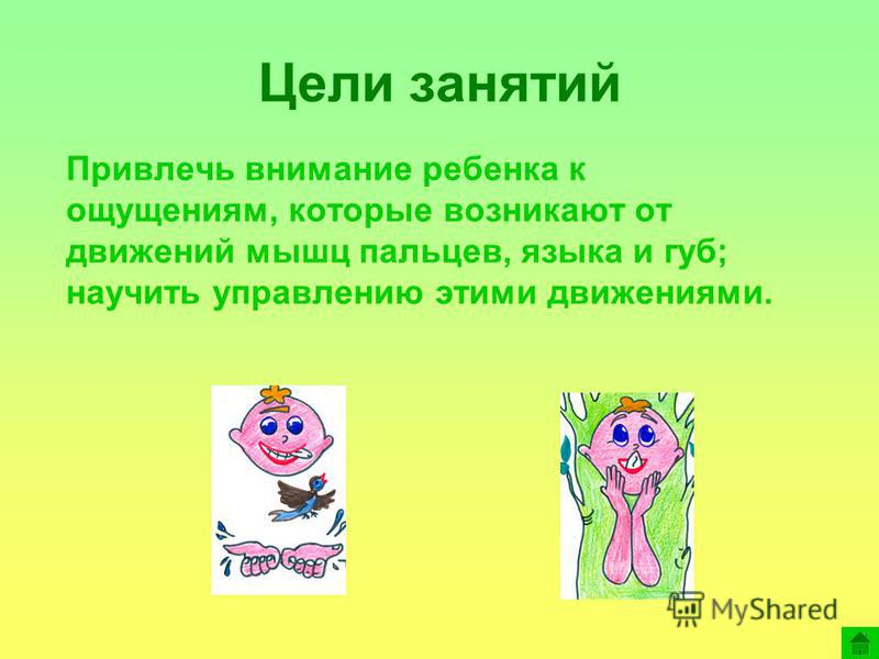 Привлечь внимание ребенка к ощущениям, которые возникают от движений мышц пальцев, языка и губ; научить управлению этими движениями. Цели занятий