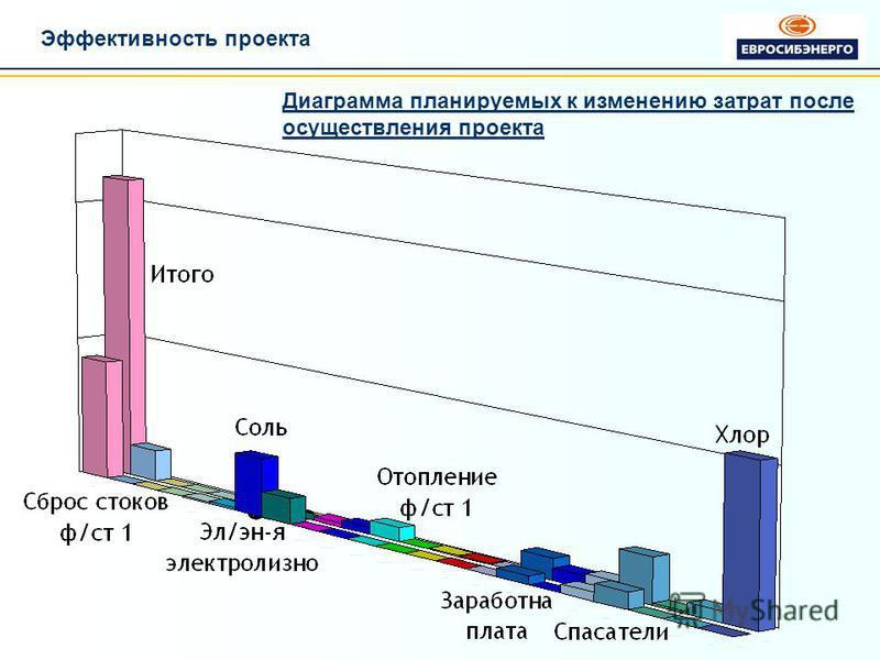 Эффективность проекта Диаграмма планируемых к изменению затрат после осуществления проекта
