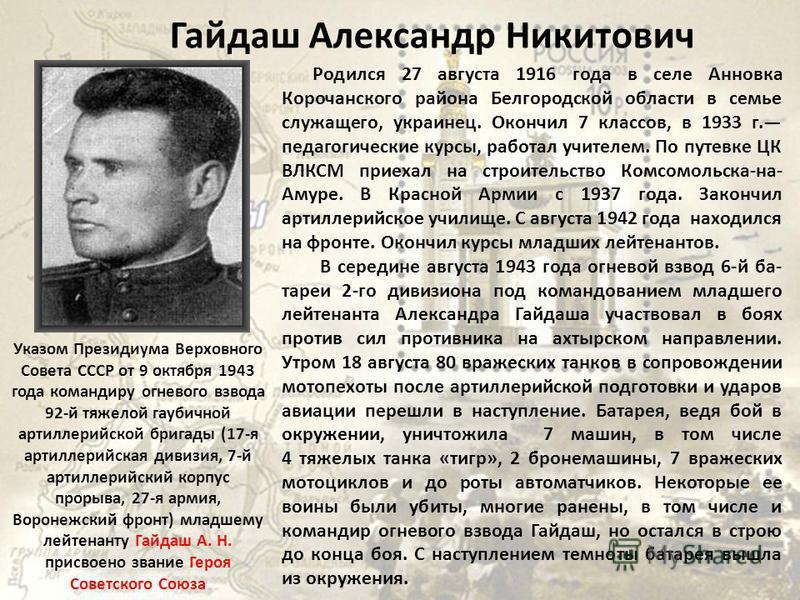 Гайдаш Александр Никитович Родился 27 августа 1916 года в селе Анновка Корочанского района Белгородской области в семье служащего, украинец. Окончил 7 классов, в 1933 г. педагогические курсы, работал учителем. По путевке ЦК ВЛКСМ приехал на строитель