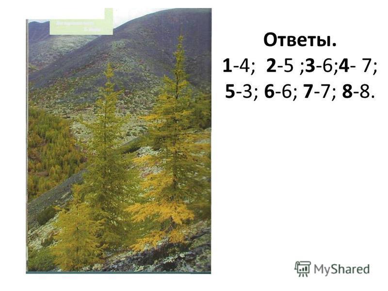 Ответы. 1-4; 2-5 ;3-6;4- 7; 5-3; 6-6; 7-7; 8-8.