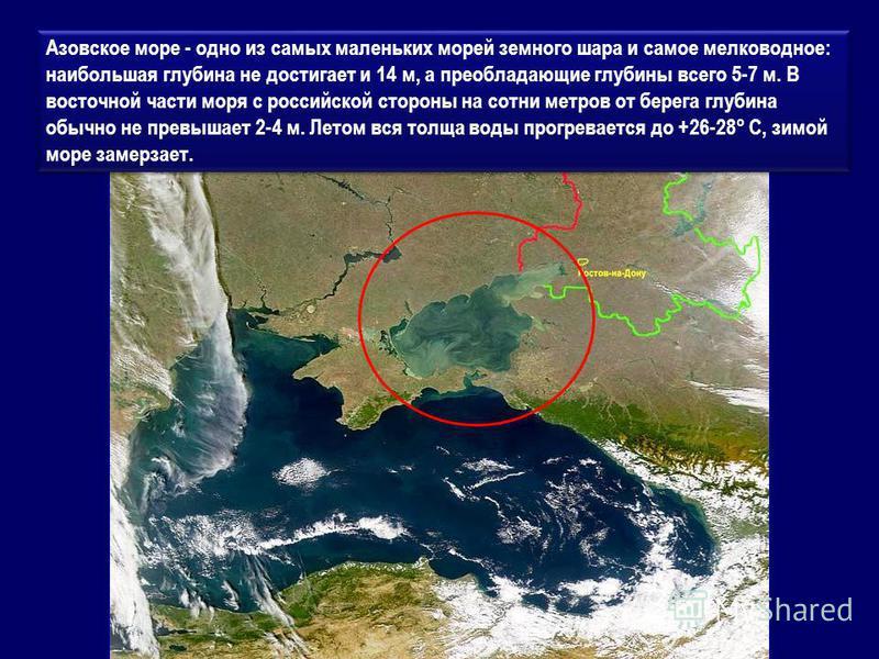 Азовское море - одно из самых маленьких морей земного шара и самое мелководное: наибольшая глубина не достигает и 14 м, а преобладающие глубины всего 5-7 м. В восточной части моря с российской стороны на сотни метров от берега глубина обычно не превы