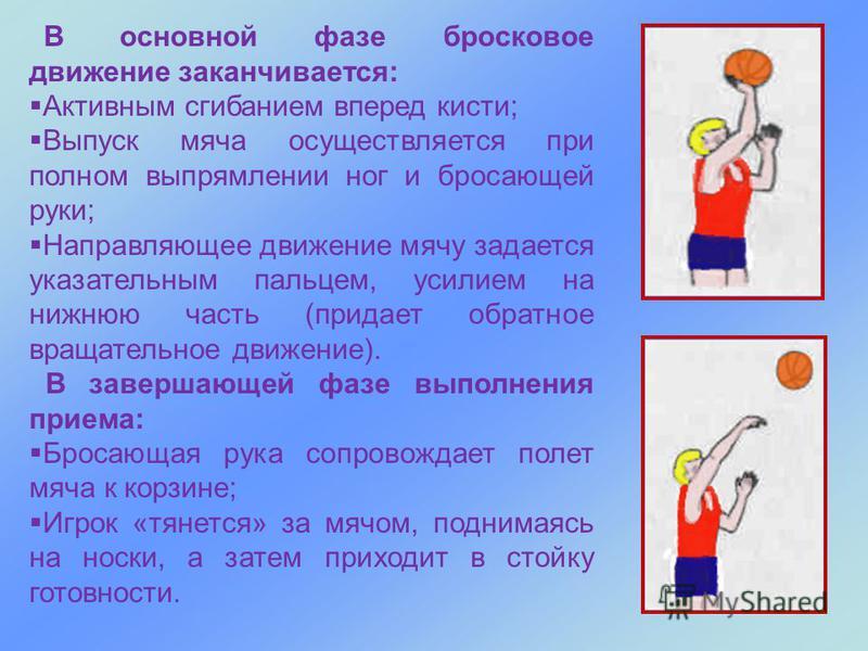В основной фазе бросковое движение заканчивается: Активным сгибанием вперед кисти; Выпуск мяча осуществляется при полном выпрямлении ног и бросающей руки; Направляющее движение мячу задается указательным пальцем, усилием на нижнюю часть (придает обра
