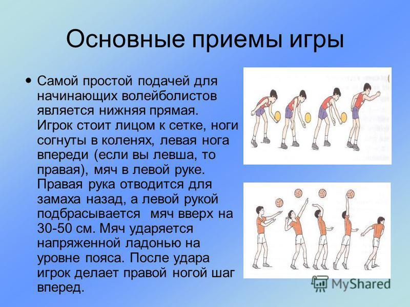 Самой простой подачей для начинающих волейболистов является нижняя прямая. Игрок стоит лицом к сетке, ноги согнуты в коленях, левая нога впереди (если вы левша, то правая), мяч в левой руке. Правая рука отводится для замаха назад, а левой рукой подбр
