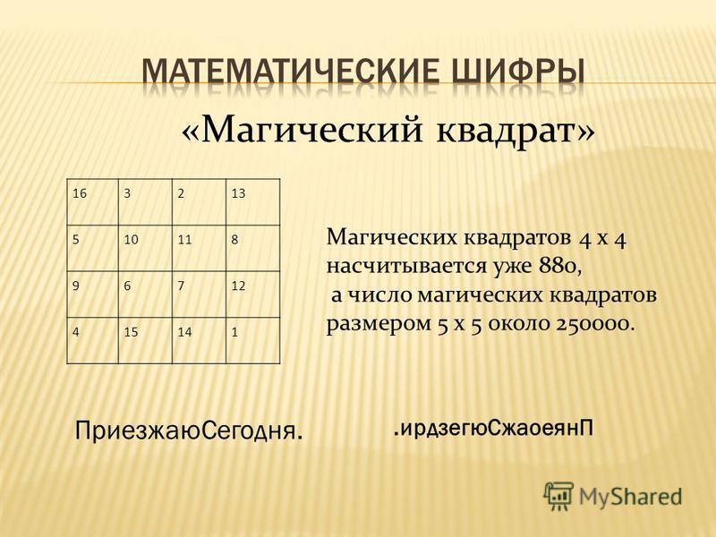 «Магический квадрат» 163213 510118 96712 415141 Магических квадратов 4 х 4 насчитывается уже 880, а число магических квадратов размером 5 х 5 около 250000. ПриезжаюCегодня..ирдзегю СжаоеянП