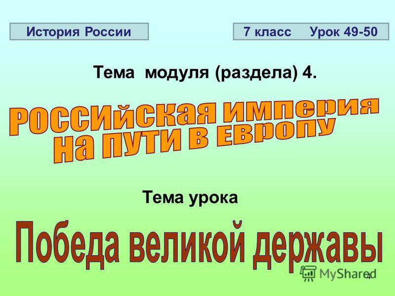 4 Тема модуля (раздела) 4. Тема урока История России 7 класс Урок 49-50