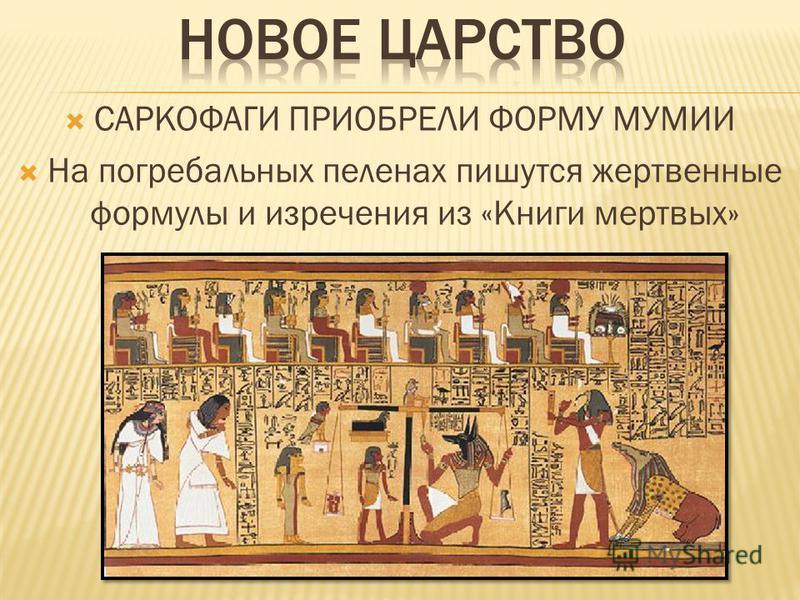 САРКОФАГИ ПРИОБРЕЛИ ФОРМУ МУМИИ На погребальных пеленах пишутся жертвенные формулы и изречения из «Книги мертвых»