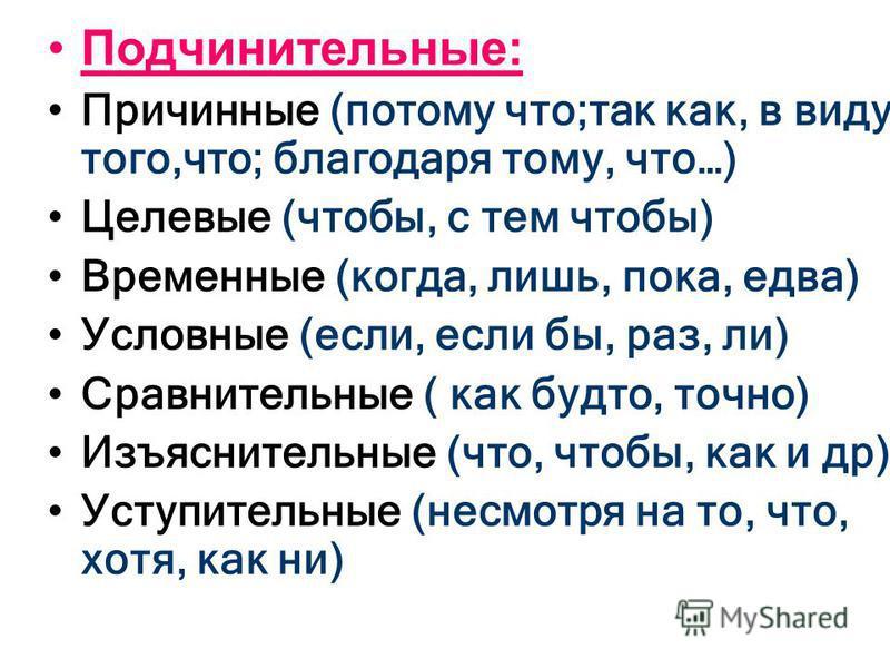 Подчинительные: Причинные (потому что;так как, в виду того,что; благодаря тому, что…) Целевые (чтобы, с тем чтобы) Временные (когда, лишь, пока, едва) Условные (если, если бы, раз, ли) Сравнительные ( как будто, точно) Изъяснительные (что, чтобы, как