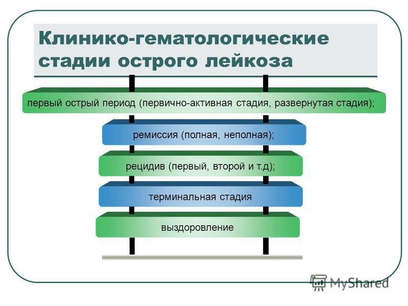 Клинико-гематологические стадии острого лейкоза первый острый период (первично-активная стадия, развернутая стадия); ремиссия (полная, неполная); рецидив (первый, второй и т.д); терминальная стадия выздоровление
