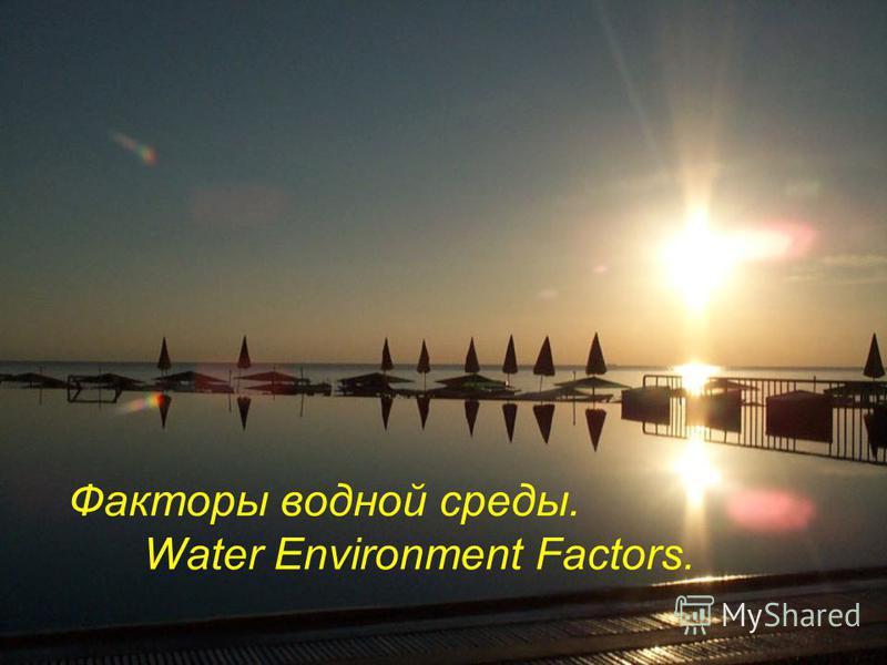 Факторы водной среды. Water Environment Factors.
