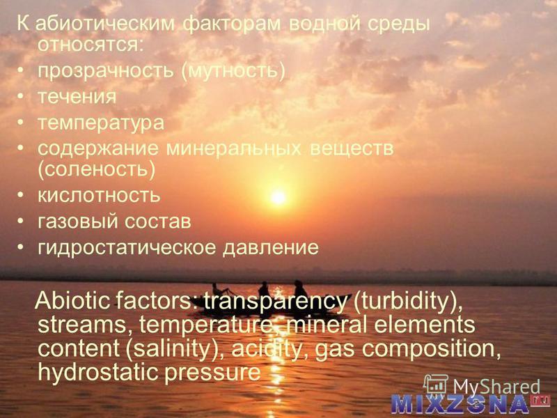 К абиотическим факторам водной среды относятся: прозрачность (мутность) течения температура содержание минеральных веществ (соленость) кислотность газовый состав гидростатическое давление Abiotic factors: transparency (turbidity), streams, temperatur