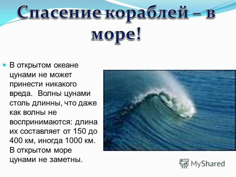 В открытом океане цунами не может принести никакого вреда. Волны цунами столь длинны, что даже как волны не воспринимаются: длина их составляет от 150 до 400 км, иногда 1000 км. В открытом море цунами не заметны.