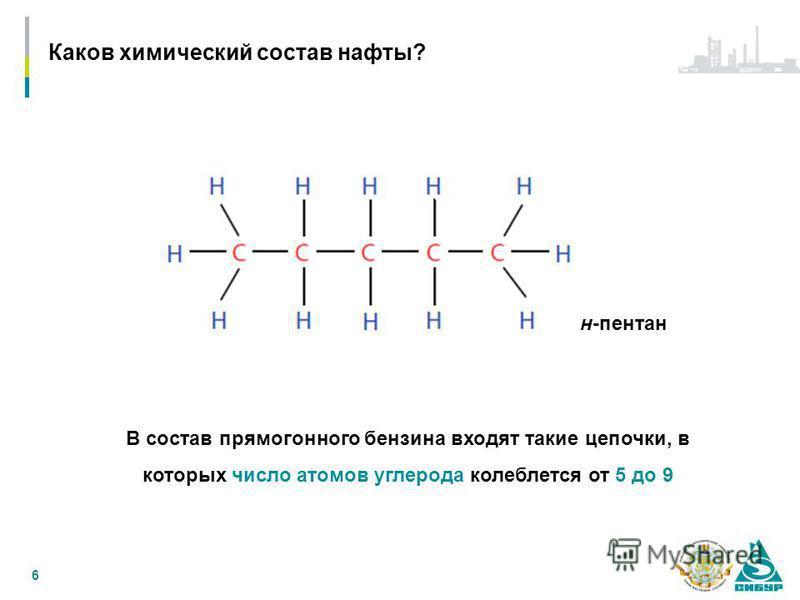 6 В состав прямогонного бензина входят такие цепочки, в которых число атомов углерода колеблется от 5 до 9 н-пентан Каков химический состав нафты?