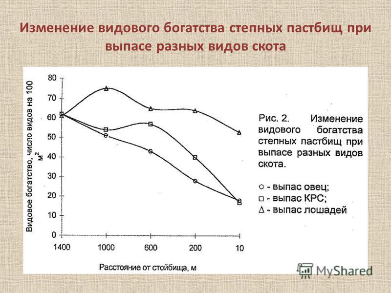 Изменение видового богатства степных пастбищ при выпасе разных видов скота