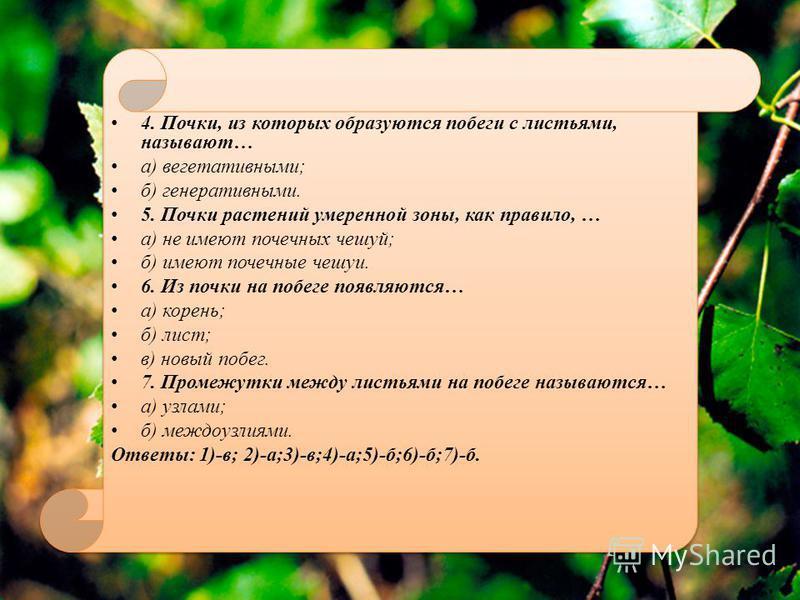 4. Почки, из которых образуются побеги с листьями, называют… а) вегетативными; б) генеративными. 5. Почки растений умеренной зоны, как правило, … а) не имеют почечных чешуй; б) имеют почечные чешуи. 6. Из почки на побеге появляются… а) корень; б) лис