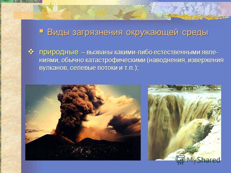 природные – вызваны какими-либо естествсенными явлениями, обычно катастрофическими (наводнения, извсержения вулканов, селевые потоки и т.п.); природные – вызваны какими-либо естествсенными явлениями, обычно катастрофическими (наводнения, извсержения