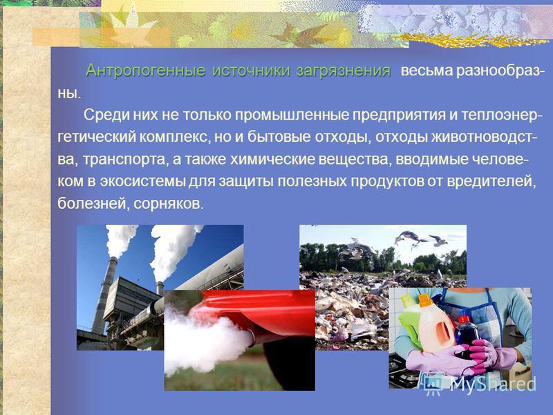 Антропогенные источники загрязнения Антропогенные источники загрязнения всесьма разнообразны. Среди них не только промышленные предприятия и теплоэнергетический комплекс, но и бытовые отходы, отходы животноводства, транспорта, а также химические всещ