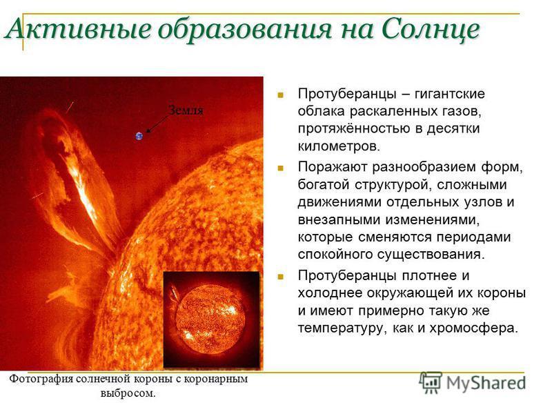 Активные образования на Солнце Протуберанцы – гигантские облака раскаленных газов, протяжённостью в десятки километров. Поражают разнообразием форм, богатой структурой, сложными движениями отдельных узлов и внезапными изменениями, которые сменяются п
