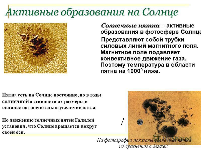 Активные образования на Солнце С олнечные пятна – активные образования в фотосфере Солнца. Представляют собой трубки силовых линий магнитного поля. Магнитное поле подавляет конвективное движение газа. Поэтому температура в области пятна на 1000 0 ниж