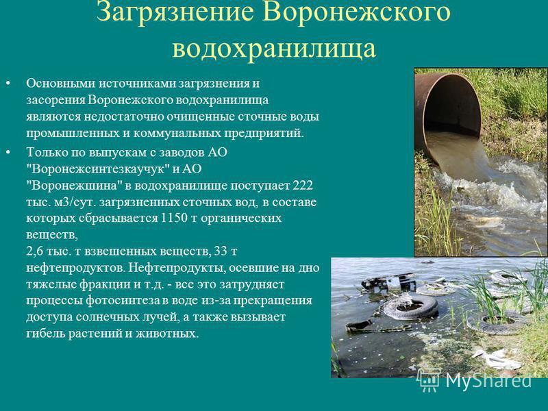 Основными источниками загрязнения и засорения Воронежского водохранилища являются недостаточно очищенные сточные воды промышленных и коммунальных предприятий. Только по выпускам с заводов АО