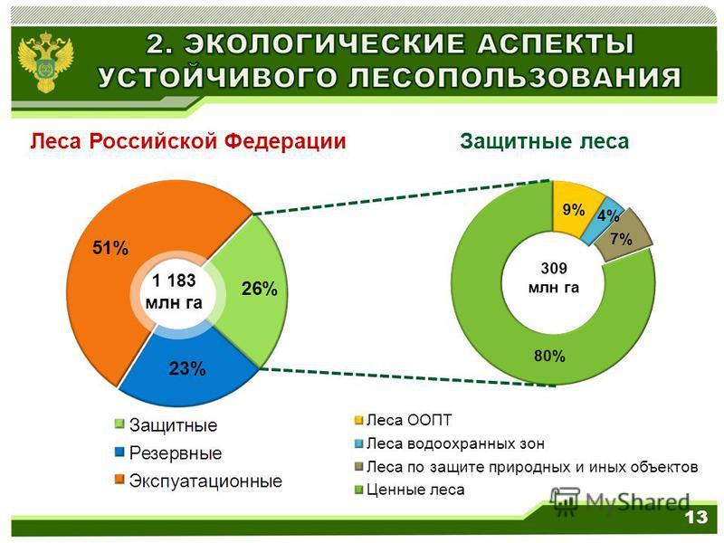 309 млн га Леса Российской Федерации Защитные леса 1 183 млн га 13