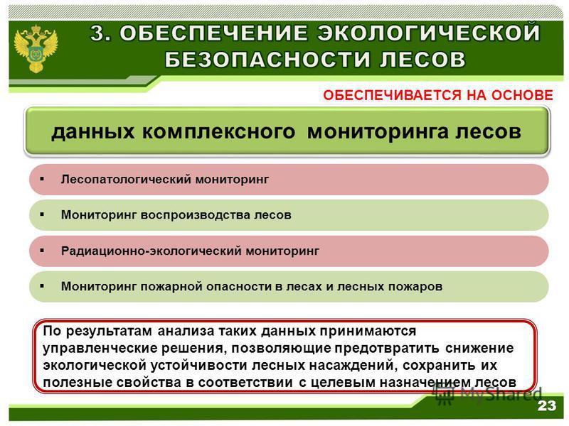 23 По результатам анализа таких данных принимаются управленческие решения, позволяющие предотвратить снижение экологической устойчивости лесных насаждений, сохранить их полезные свойства в соответствии с целевым назначением лесов ОБЕСПЕЧИВАЕТСЯ НА ОС