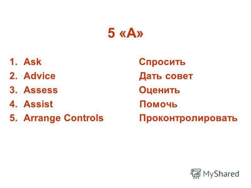 5 «А» 1. Ask Спросить 2. Advice Дать совет 3. Assess Оценить 4. Assist Помочь 5. Arrange Controls Проконтролировать