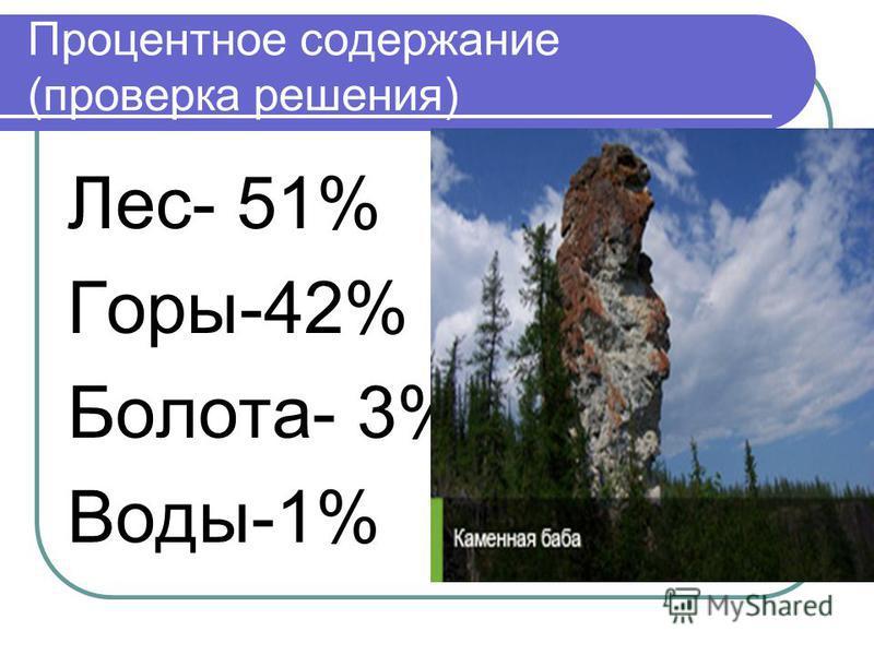 Процентное содержание (проверка решения) Лес- 51% Горы-42% Болота- 3% Воды-1%