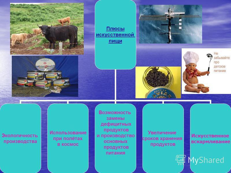 Плюсы искусственной пищи Экологичность производства Использование при полётах в космос Возможность замены дефицитных продуктов и производство основных продуктов питания Увеличение сроков хранения продуктов Искусственное вскармливание