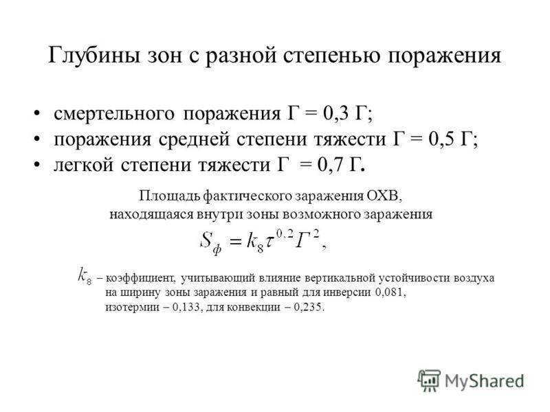 Глубины зон с разной степенью поражения смертельного поражения Г = 0,3 Г; поражения средней степени тяжести Г = 0,5 Г; легкой степени тяжести Г = 0,7 Г. Площадь фактического заражения ОХВ, находящаяся внутри зоны возможного заражения – коэффициент, у