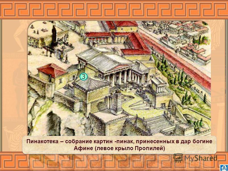 3 Пинакотека – собрание картин -пинок, принесенных в дар богине Афине (левое крыло Пропилей)
