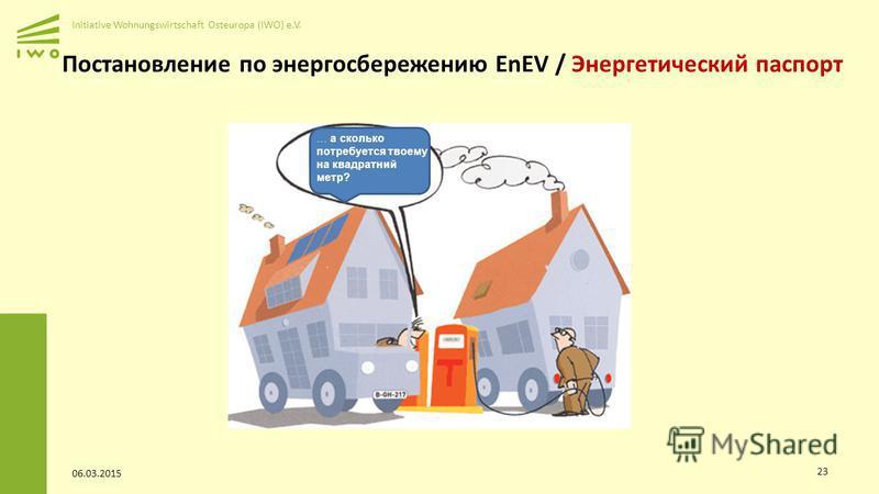 Initiative Wohnungswirtschaft Osteuropa (IWO) e.V. 06.03.2015 23 Постановление по энергосбережению EnEV / Энергетический паспорт … а сколько потребуется твоему на квадратный метр?