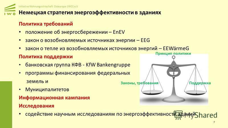 Initiative Wohnungswirtschaft Osteuropa (IWO) e.V. Немецкая стратегия энергоэффективности в зданиях Политика требований положение об энергосбережении – EnEV закон о возобновляемых источниках энергии – EEG закон о тепле из возобновляемых источников эн