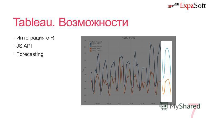 Tableau. Возможности Интеграция с R JS API Forecasting 7