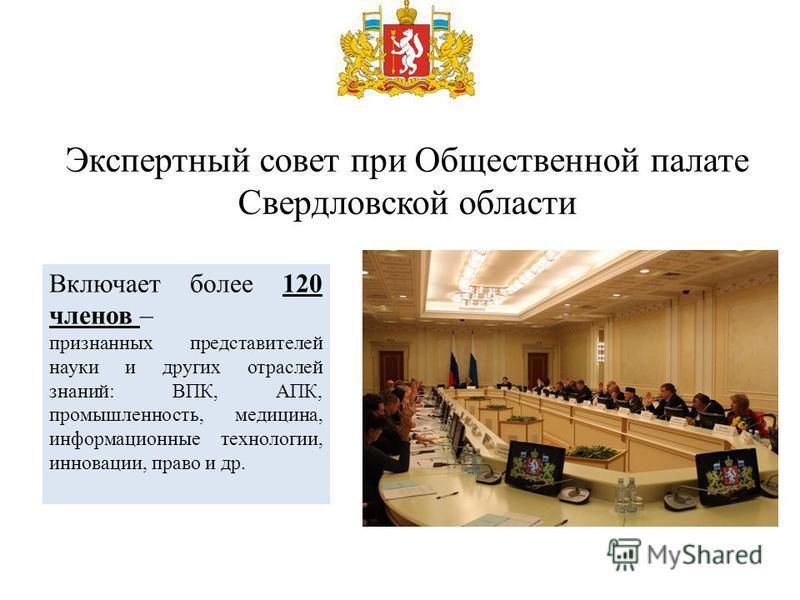 Экспертный совет при Общественной палате Свердловской области Включает более 120 членов – признанных представителей науки и других отраслей знаний: ВПК, АПК, промышленность, медицина, информационные технологии, инновации, право и др.