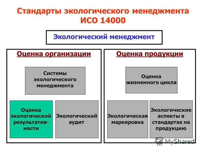 Экологический менеджмент Оценка организации Оценка продукции Системы экологического менеджмента Оценка экологической результативности Экологический аудит Оценка жизненного цикла Экологическая маркировка Экологические аспекты в стандартах на продукцию