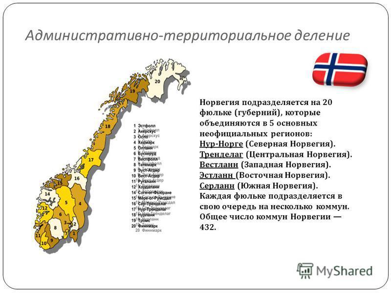 Административно - территориальное деление Норвегия подразделяется на 20 фюльке (губерний), которые объединяются в 5 основных неофициальных регионов: Нур-Норге (Северная Норвегия). Тренделаг (Центральная Норвегия). Вестланн (Западная Норвегия). Эстлан