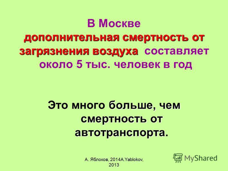 А. Яблоков, 2014A.Yablokov, 2013 дополнительная смертность от загрязнения воздуха В Москве дополнительная смертность от загрязнения воздуха составляет около 5 тыс. человек в год больше, чем смертность от автотранспорта Это много больше, чем смертност