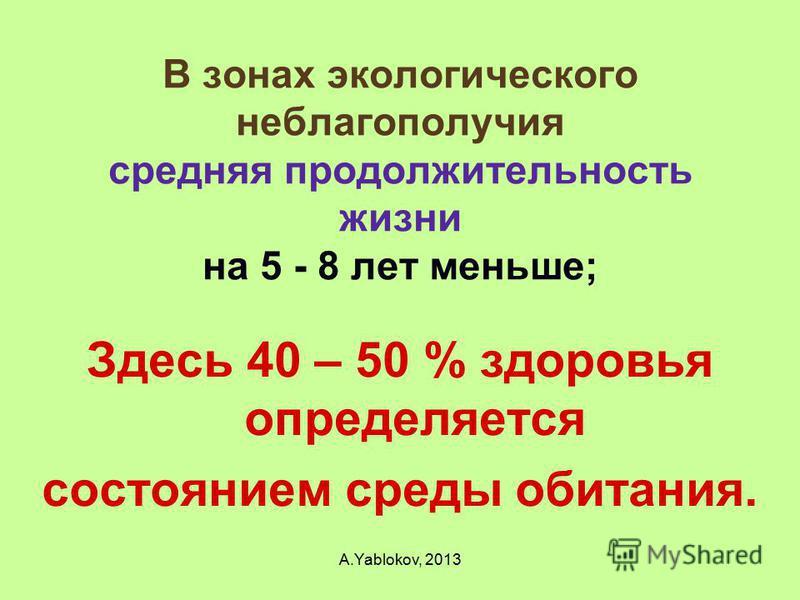 В зонах экологического неблагополучия средняя продолжительность жизни на 5 - 8 лет меньше; Здесь 40 – 50 % здоровья определяется состоянием среды обитания. A.Yablokov, 2013