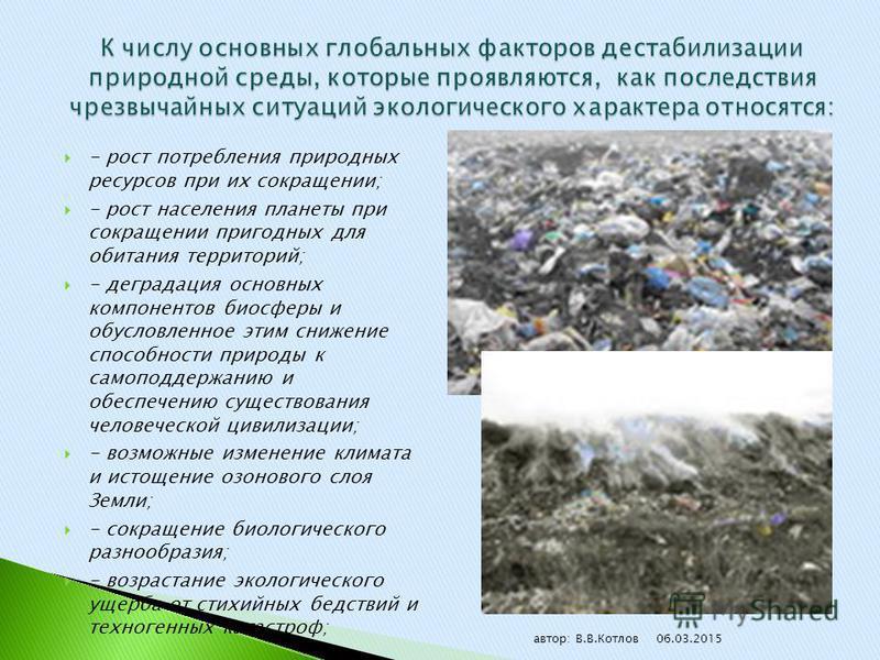 - рост потребления природных ресурсов при их сокращении; - рост населения планеты при сокращении пригодных для обитания территорий; - деградация основных компонентов биосферы и обусловленное этим снижение способности природы к самоподдержанию и обесп