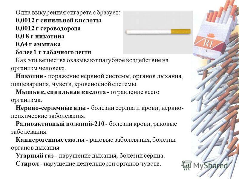 Одна выкуренная сигарета образует: 0,0012 г синильной кислоты 0,0012 г сероводорода 0,0 8 г никотина 0,64 г аммиака более 1 г табачного дегтя Как эти вещества оказывают пагубное воздействие на организм человека. Никотин - поражение нервной системы, о