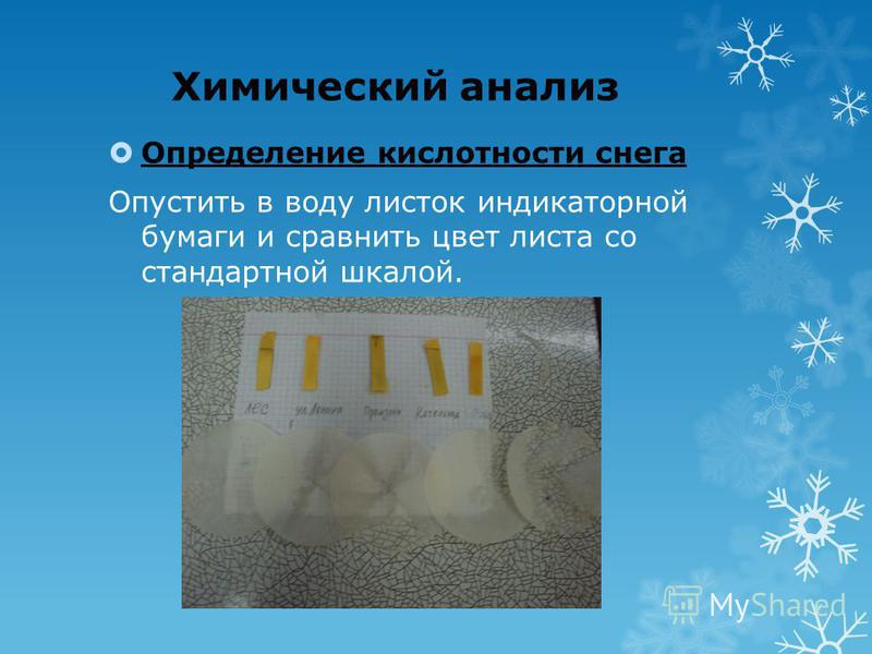 Химический анализ Определение кислотности снега Опустить в воду листок индикаторной бумаги и сравнить цвет листа со стандартной шкалой.