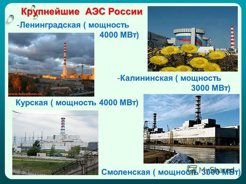Крупнейшие АЭС России -Ленинградская ( мощность 4000 МВт) -Калининская ( мощность 3000 МВт) - Смоленская ( мощность 3000 МВт) - Курская ( мощность 4000 МВт)