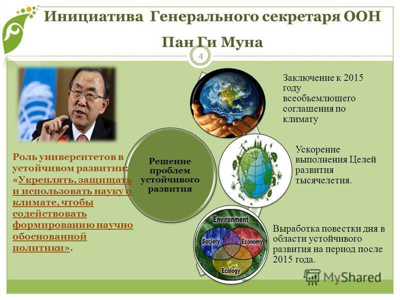 Инициатива Генерального секретаря ООН Пан Ги Муна 4 Решение проблем устойчивого развития Заключение к 2015 году всеобъемлющего соглашения по климату Ускорение выполнения Целей развития тысячелетия. Выработка повестки дня в области устойчивого развити