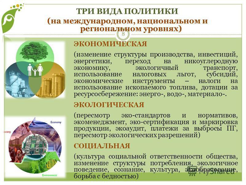 ЭКОНОМИЧЕСКАЯ (изменение структуры производства, инвестиций, энергетики, переход на никоуглеродную экономику, экологичный транспорт, использование налоговых льгот, субсидий, экономические инструменты – налоги на использование ископаемого топлива, дот