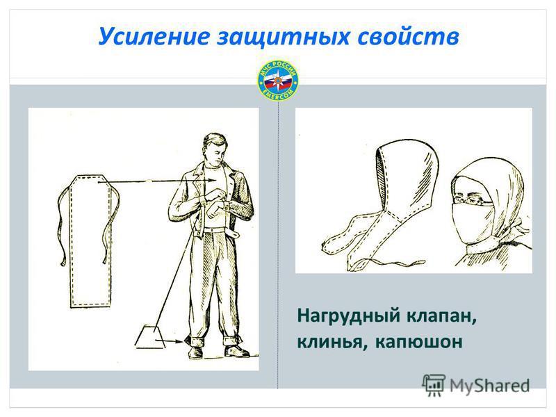 Усиление защитных свойств Нагрудный клапан, клинья, капюшон