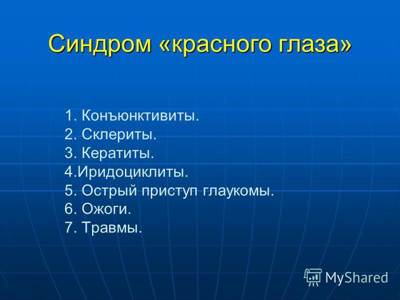 Синдром «красного глаза» 1. Конъюнктивиты. 2. Склериты. 3. Кератиты. 4.Иридоциклиты. 5. Острый приступ глаукомы. 6. Ожоги. 7. Травмы.